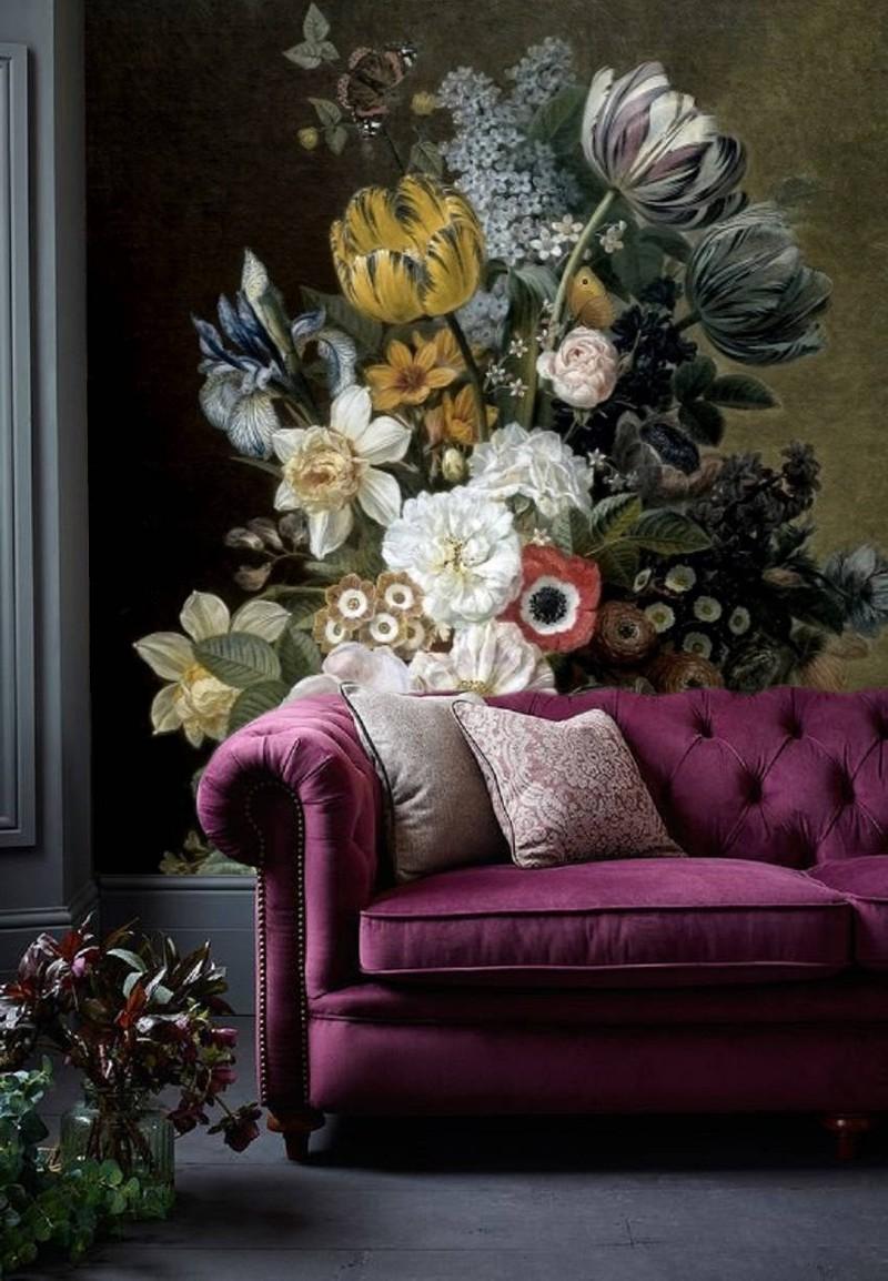 Behang Grote Bloemen.Zelfklevend 320x260cm Bloemen Zwart Vintage Geel