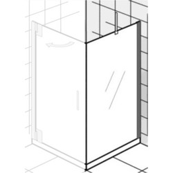 Ben Futura Zijwand 100x200cm Chroom / Grijs Glas