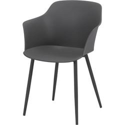 Pure Scandinavian - Eetkamerstoelen - set van 4 - zitkuip polypropyleen (PP) - Grijs - gepoedercoate metalen poten  - zelfde kleur kuip