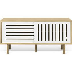 TemaHome Dann Stripes Dressoir Eiken - 135x45x64 - Wit - Houten Poten