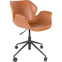Zuiver bureaustoel Nikki PU leder bruin 77 - 90 x Ø77