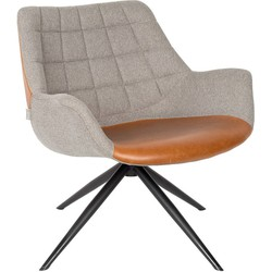 Zuiver Doulton Lounge Fauteuil - Vintage Bruin Kunstleer