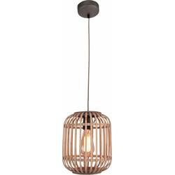 Hanglamp Malacca Mat Zwart & Rotan 1Lichts