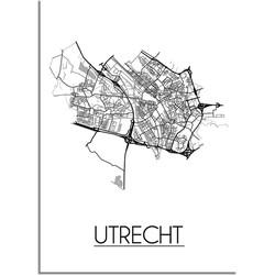 Utrecht Plattegrond poster - A3 + Fotolijst wit