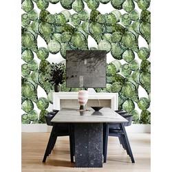 Vliesbehang Cactus groen wit  122x122 cm