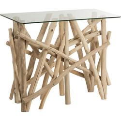 Nature branches - Sidetable - hout takken - glazen blad - rechthoekig