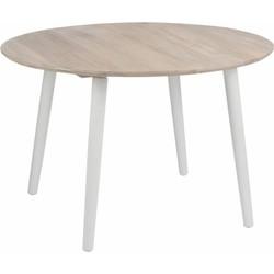 Retro Sheesham whitewash - Eettafel - rond - whitewash & wit - dia120x79cm