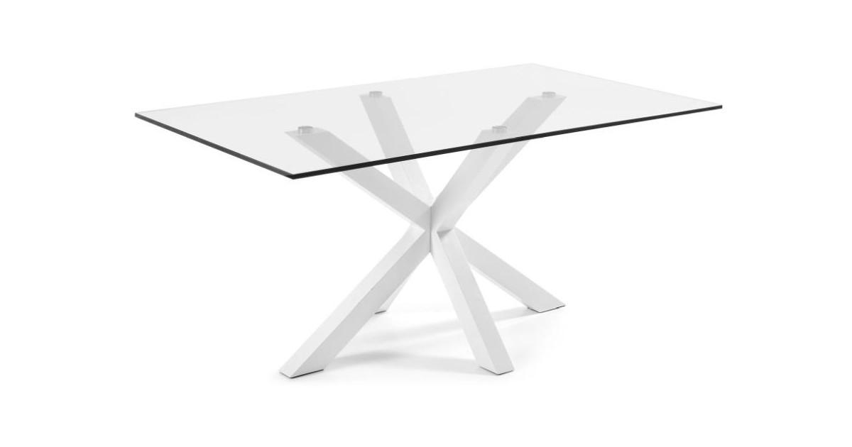 Aanbieding laforma atta tafel met wit glazen tafelblad laforma