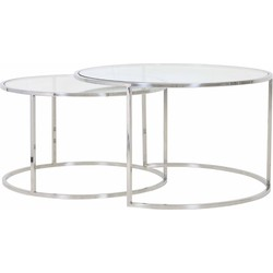 Light&Living Salontafel Duarte Zilver Set van 2 44 x Ø75