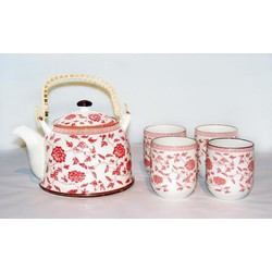 Fine Asianliving Chinese Theeset Porselein Bloemen Rood