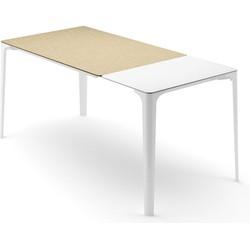Infiniti Uitschuifbare Tafel MAT - L160/218 X B90 X H75 Cm - Wit Aluminium - Eikenhout Decor