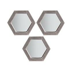 John Lewis & Partners Trey Trio Hexagonal Mirrors, 36 x 31cm, Grey, Set of 3