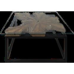 Salontafel - 70x70 cm - teak/ijzer