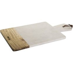PTMD Stockholm White Marble Wood Rectangle