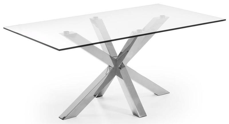 Laforma arya tafel cm glazen blad chromen onderstel