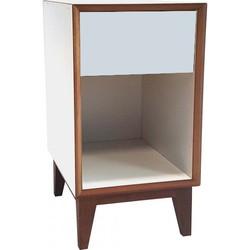 PIX nachtkastje groot met wit frame en licht grijs voorkant