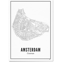 WIJCK. Poster Amsterdam Centrum Papier Off-White - 21 x 30 cm