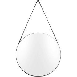pt, Balanced Spiegel Rond Staal/Leer Ø47 cm - Zilver
