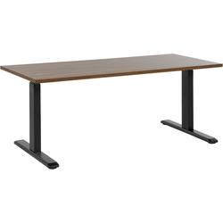Bureau bruin-zwart 160x70 cm handmatig in hoogte verstelbaar UPLIFT II