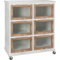 Industry white - Opbergkast - op wieltjes - wit - metaal - 6 klapdeuren - hout en glas - 86x43x96cm