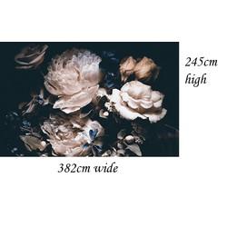 Zelfklevend behang bloemen zwart vintage 382x245cm