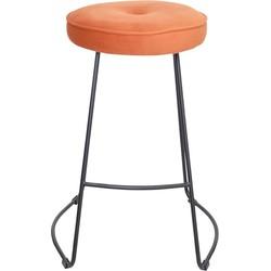 Set van 4 barkrukken - Bristol barkruk - velvet oranje