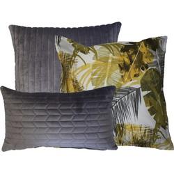 Kussen fluweel grijs & print tropical Okergeel 50x50 cm Set van 3