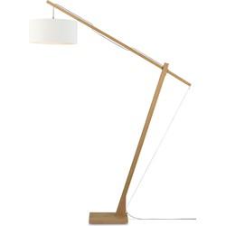 Vloerlamp Montblanc bamboe 4723, linnen wit