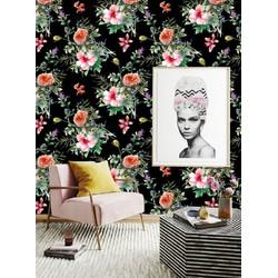 Vliesbehang Waterverf Bloemen multicolour  122x122 cm