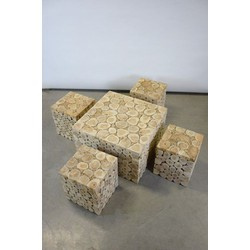Robuuste Tuinset 4 krukken 1 tafel Indonesian legal wood (incl. glas)