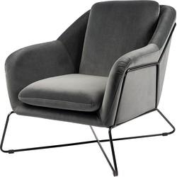 24Designs Miami Fauteuil - Grijs Fluweel - Zwart Metalen Frame