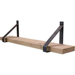 Eiken rustiek - wandplank 60cm - stalen plankdragers