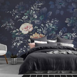 Zelfklevend behang XL Donkere bloemen 400 x 260cm