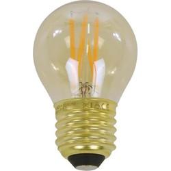Lichtbron LED filament bol Ø4,5 - E27 4W 2100K 280lm dimbaar / Amberkleurig glas