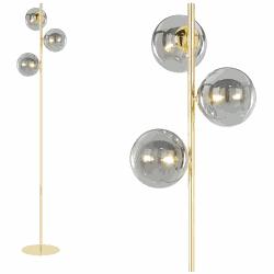 Globe staande lamp, messing en rookglas