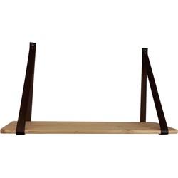 Houten Wandplank-70x38cm-met kunstlederen Hengsels -Hout/ Kunstleer-Bruin-Housevitamin