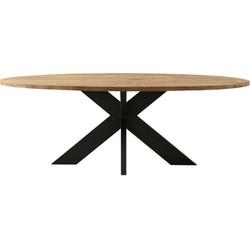 Ovale eettafel - 220x110 cm - teak/metaal