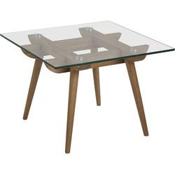 24Designs Bijzettafel Alvar - 60x60x43 - Glazen Tafelblad - Eikenhouten Poten