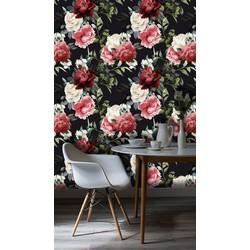 Zelfklevend behang Bloemen rood zwart  122x122