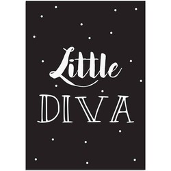 Little Diva - Tekst poster - Zwart wit poster - A2 + Fotolijst wit