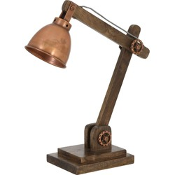 Bureaulamp ELMER - hout bruin + koper