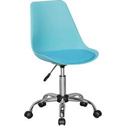 24Designs Bureaustoel Dex Office In Hoogte Verstelbare Blauwe Kuipstoel Op Wielen