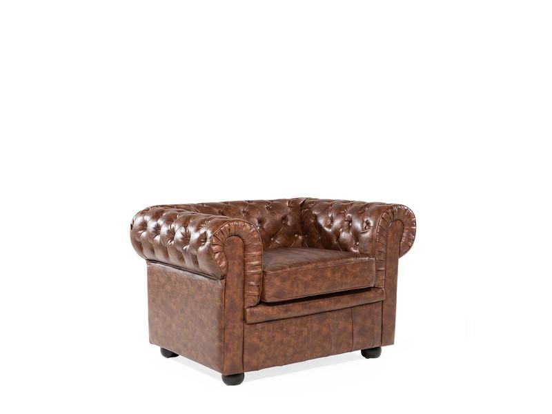 Leren stoel leren fauteuil fauteuil van kunstleer in bruin old