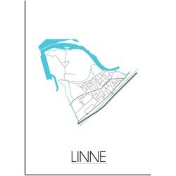 Linne Plattegrond poster - A2 + Fotolijst zwart