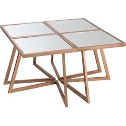 Gold - Salontafel - samengesteld uit 4 tafeltjes - glazen bladen - metalen frame - goudkleurig