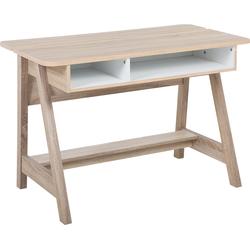 Bureau lichte houtkleur/wit 110x60 cm JACKSON