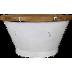 Salontafel Emmer - white resin - teak/ijzer