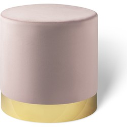 Fluwelen poef Beau oudroze met goud - Lifa Living - 38 (diameter) x 38 (hoog)