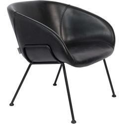Zuiver Feston Loungestoel - Zwart Kunstleer