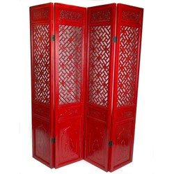 Fine Asianliving Fine Asianliving Chinees Kamerscherm 4 Panels Handgesneden Rood